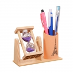 Sand glass wooden pen container