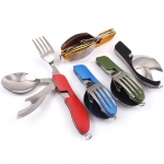 Stainless steel foldable tableware set
