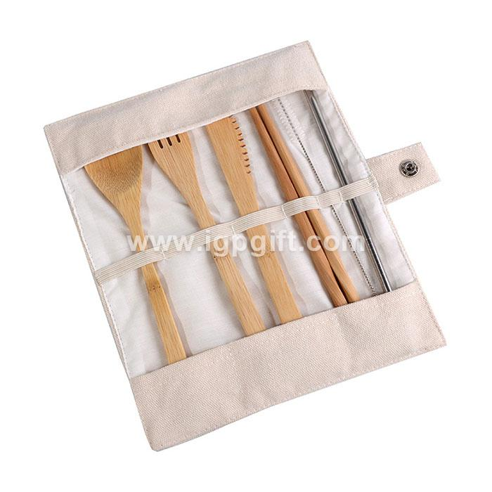 Eco bamboo portable tableware set
