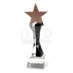 扭柱五角星水晶獎座