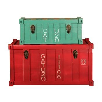 美式復古實木箱子擺件