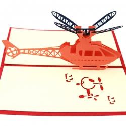 紙雕直升機祝福卡片