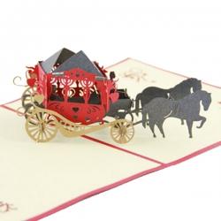婚禮馬車紙雕賀卡