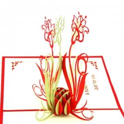 剪紙蘭花折疊賀卡