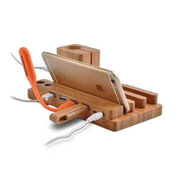 Multi0functional solid wood phone holder