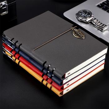 真皮紋綁帶筆記本