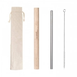 Wooden bucket travel stainless steel straw set