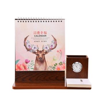 創意時鐘木質台曆架