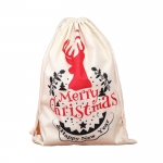 Christmas linen drawstring bag