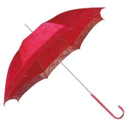 紅色暗紋印花直桿傘