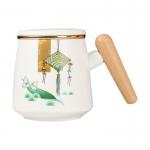 端午木柄陶瓷杯