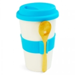 Silicone Heat proof Ceramic Mug Set with Spoon