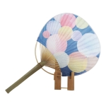 Japanese Style Flat Handle Bamboo Fan