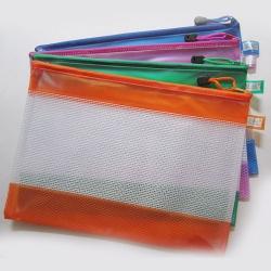 網格拉鏈便攜文件袋