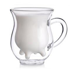 透明雙層玻璃牛奶杯