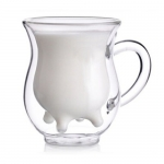 Transparent Double Layer Glass Milk Cup